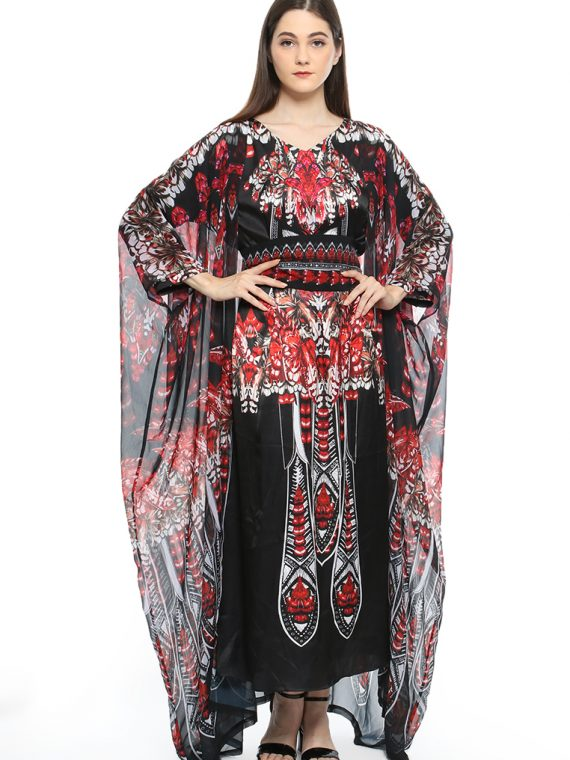 6471BLKRED_4 WINGS OF GRACE CAPED KAFTAN_4