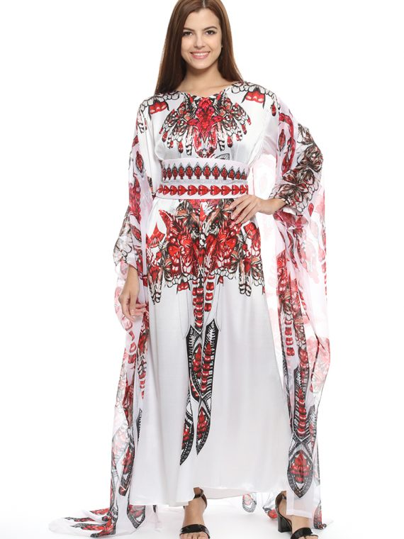6471IVRRED_1 WINGS OF GRACE CAPED KAFTAN_1