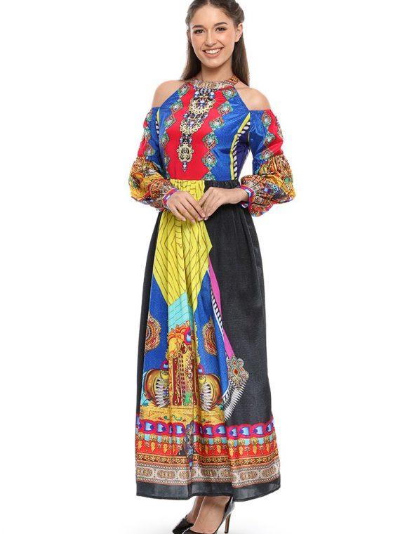 6514NAV_4 ECHOES OF JAIPUR COLD SHOULDER DRESS_4
