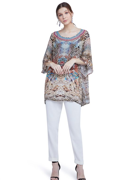 6548BLKMUL_1 RIVIERA TOP WITH SLEEVE_1