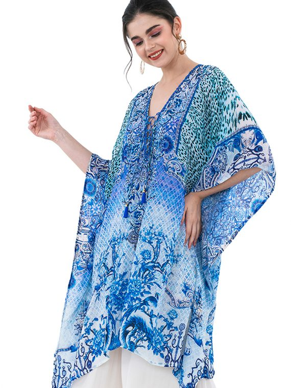 6561BLU_4 BLUE PARADISE LACE UP KAFTAN BLOUSE_4