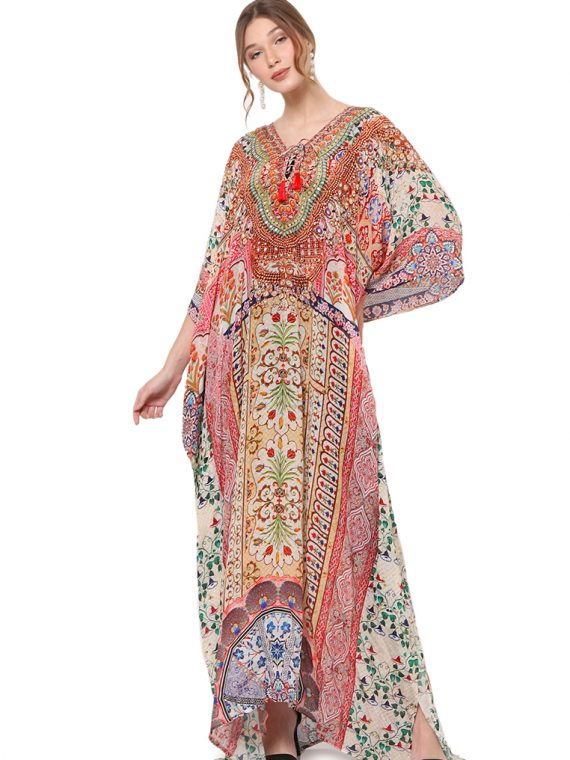 6563PNKMUL_7 CULTURAL TREASURES LACE UP KAFTAN_7 Rev