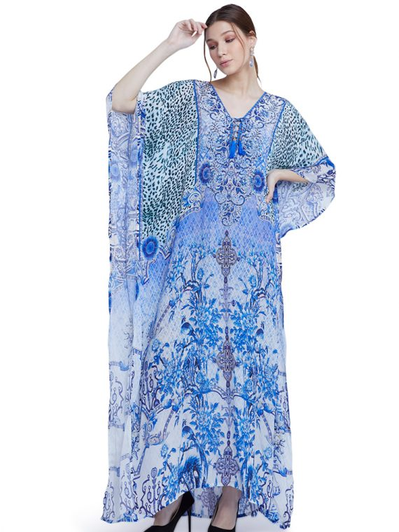6564BLU_4 BLUE PARADISE LACE UP KAFTAN_4