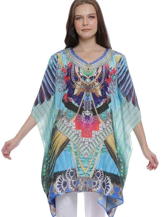 6604BLU_1(2nd) FABLED FEATHERS KAFTAN BLOUSE_1(2nd)