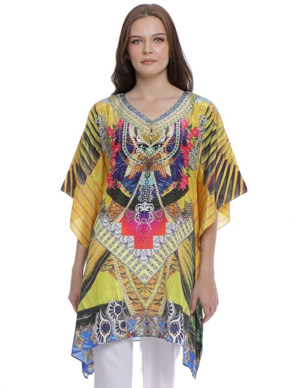 6604YLW_1(1st) FABLED FEATHERS KAFTAN BLOUSE_1(1st)
